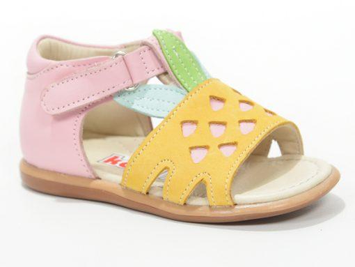детски сандали за девојчиња, розеви со жолто