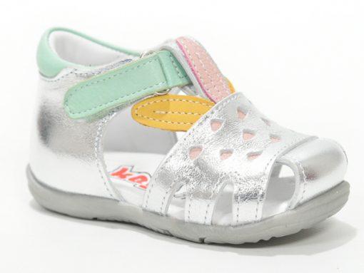 бебешки сандали за девојче- сребрено со зелено