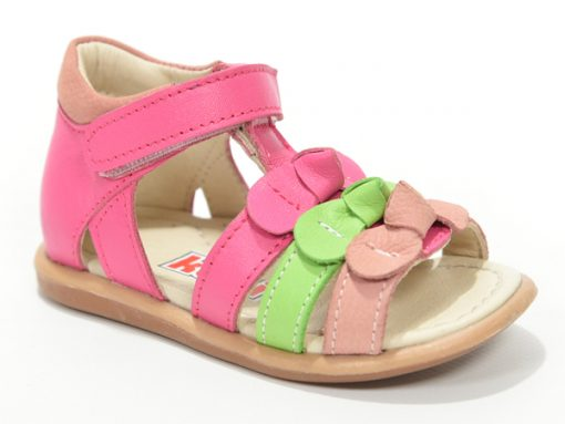 детски сандали- сандали за девојчиња циклама и зелена боја